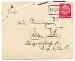 Germany 1938 Sudetenland Forerunner, Koenigsberg/Ostsudetenland cover to Vienna