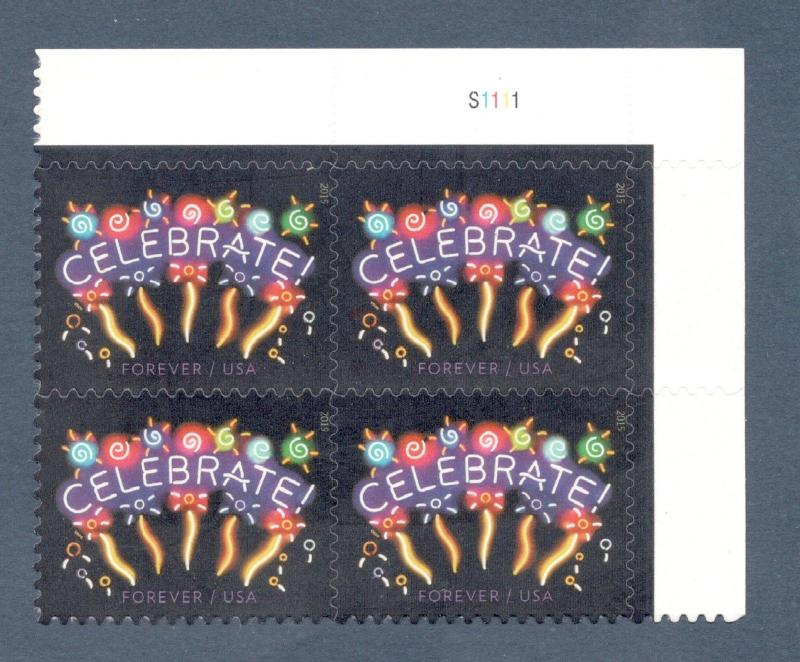 5019 Neon Celebrate Plate Block Mint/nh (Free shipping offer)