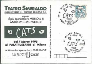 MUSIC MUSICAL : CATS - POSTMARK ON POSTCARD: ITALY 1995