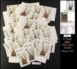 Rwanda Dealer's Lot ~ Sct. 515 ~ 91 tot Cat: $ ~ CLR90570