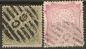 India Cochin 12A-B SG 17-18 Used F/VF 1898 SCV $4.40