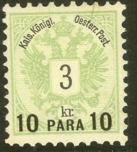 AUSTRIAN OFFICES IN TURKEY 1888 10pa on 3kr ARMS Sc 15 MH