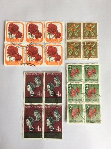 New Zealand blocks x4 used but not hinged