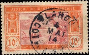CÔTE-D'IVOIRE - 1914 - CAD LAHOU / COTE-D'IVOIRE DOUBLE CERCLE SUR N°45
