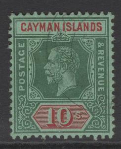 CAYMAN ISLANDS SG52 1914 10/- DEEP GREEN & RED/GREEN FINE USED