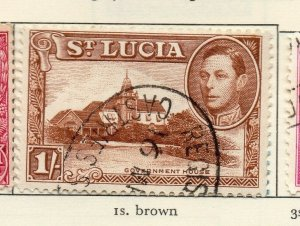 St Lucia 1938-48 GVI Early Issue Fine Used 1S. NW-154981