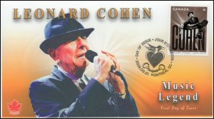CA19-045, 2019, Leonard Cohen, Pictorial Postmark, First Day Cover, Golden Age