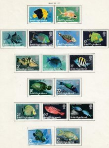 BRITISH VIRGIN ISLANDS # 284-299 VF-MLH FISHES CAT VALUE $25+