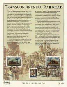 Goodman's Art Cachet 5378-80 Transcontinental Railroad 3 Stamps Souvenir Page