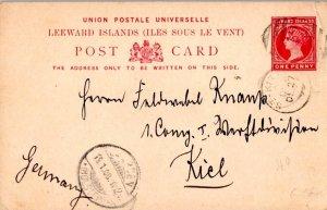 Saint Kitts Leeward Islands 1 1/2d QV Postal Card 1899 St. Kitts to Kiel, Ger...