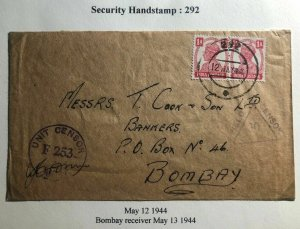 1944 India Security Handstamp 292 censored Cover To Bombay