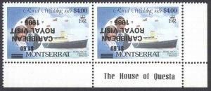 Montserrat Sc# 578 (INVERTED OVERPRINT) MNH Pair 1985 $1.60 Royal Visit
