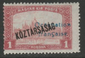 Hungary French Occupation Arad Issue 1919 1k MH* A18P16F630