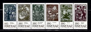 Faroe Is 120a MNH 1984 strip of 6 been folded