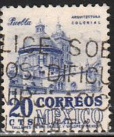 MEXICO 878, 20cents 1950 Definitive 2nd Printing wmk 300. USED. F-VF. (1403)
