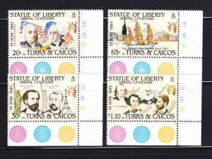 Turks and Caicos Islands 661-664 Set MNH Statue of Liberty B