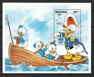 Bhutan, Scott cat. 470. Donald Duck and Sea Scouts s/sheet.