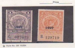 CHILE 1927 Impuesto REVENUES Stamps Used Animal & Bird 1P & 2P
