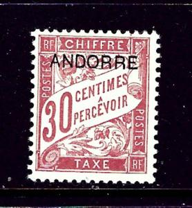 French Andorra J3 MH 1931 issue