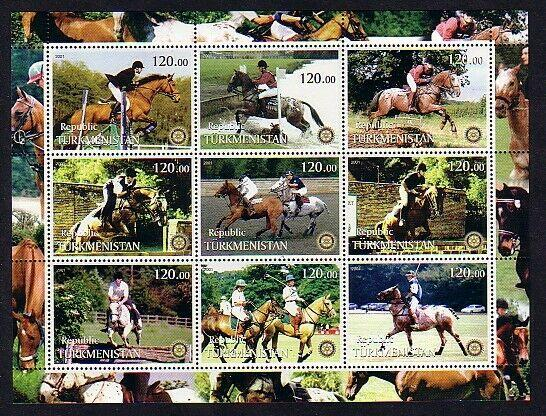Turkmenistan, 2001 Russian Local. Equestrian Horses, on a sheet of 9.