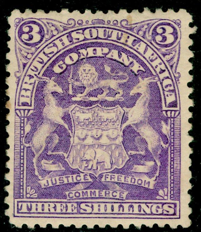 RHODESIA SG86, 3s deep violet, M MINT. Cat £42.