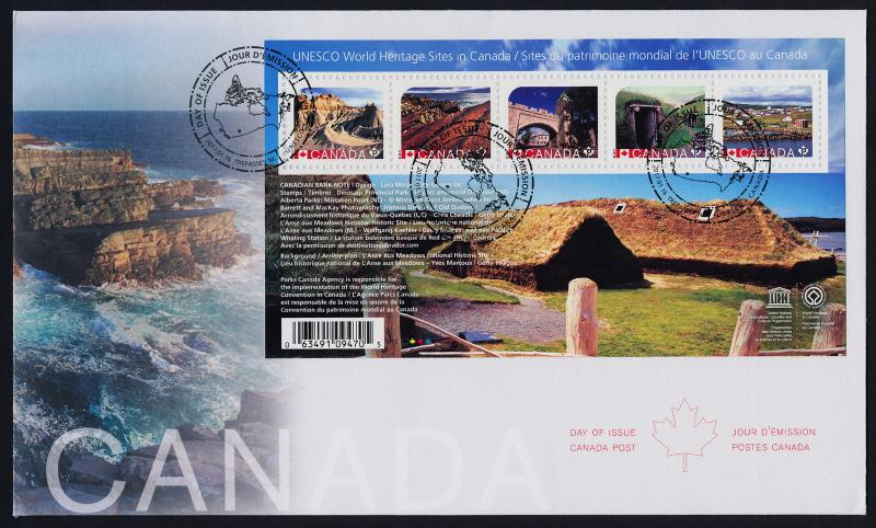 Canada 2963 on FDC - UNESCO World Heritage Sites, Architecture, Geology