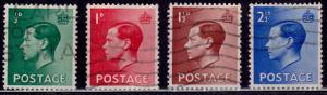 Great Britain, 1936, King Edward VII, sc#230-233, used