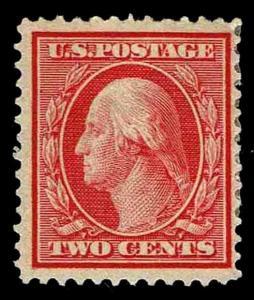 US.#358  WASH & FNKLN BLUE PAPER Issue of 1909 - OGHR - F/VF - $55.00 (0301)