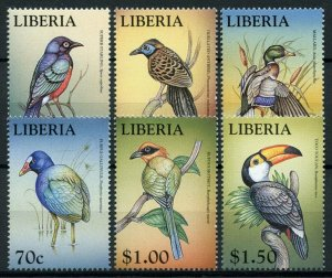 Liberia Stamps 1999 MNH World of Birds Toucans Motmot Gallinule Ducks 6v Set