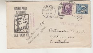 UNITED STATES, 1937 cover, Great Smoky Mts., 3c., 5c. to Australia, Via Airmail
