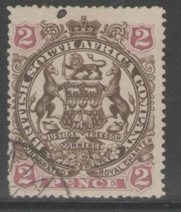 RHODESIA SG68 1897 2d BROWN & MAUVE USED