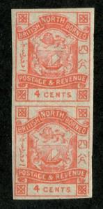 North Borneo SC# 39 Coat of Arms imperf pair 4c MH/MNH
