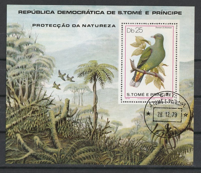 St. Thomas & Prince Islands Used S/S Birds Forest 1979
