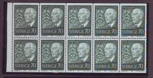 Sweden Sc768a 1967 70 ore King 80 Years stamp bklt pane NH