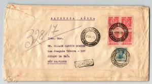 Brazil 1943 Express Air Cover to USA / Censored? / Creasing & Edge Tears -Z13672