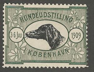 Dog Exhibition 1909, Copenhagen, Denmark, Poster Stamp, Cinderella Label