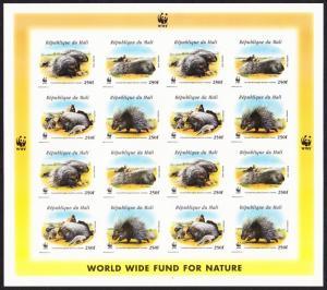 Mali WWF Crested Porcupine Imperf Sheetlet of 4 sets MI#1974-1977 SC#918 a-d