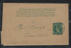 LEEWARD ISLANDS (P2712B) QV 1/2D PS WRAPPER 1892 FROM ANTIGUA TO CEDAR HALE