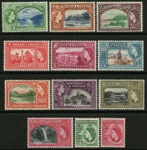 TRINIDAD & TOBAGO-1953-59 Set to $4.80 Sg 267-278a LIGHTLY MOUNTED MINT V48486