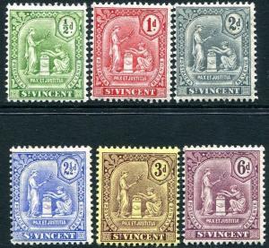 ST VINCENT-1909-11 Set to 6d Sg 102-107 LIGHTLY MOUNTED MINT V25091