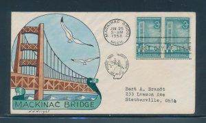 #1109 3c MACKINAC BRIDGE ON WRIGHT HANDPAINTED FDC CACHET JUN 25,1958 BU9914