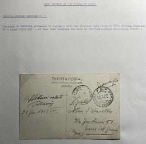 1938 Italian Volunteer PO 5 In Spain Civil War Postcard Cover To Napoli Italy