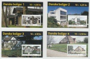 Denmark Sc 1239, 1258, 1267, 1318 Intact Booklets. 2002-2005 Danish Houses cplt