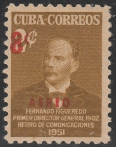 1952 Cuba Stamps Sc C52 Colonel Fernando Figueredo Surcharged MNH