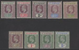 ST.VINCENT SG76/84 1902 WMK CROWN CA SET MTD MINT
