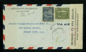 Haiti 1942 Censored Airmail Cover Port au Prince to NJ franked Scott 317, 319