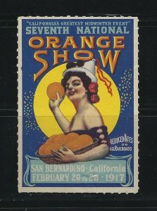 UNITED STATES - 1917 CALIFORNIA SEVENTH NATIONAL ORANGE SHOW POSTER STAMP MNH