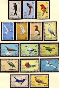 BIOT SC# 63-77 Tropical Birds of the Atoll, set  MNH