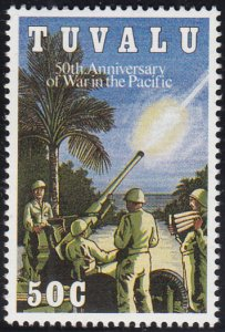 Tuvalu 1993 MNH Sc #634 50c Anti-aircraft gun - 50th Anniversary of War in Pa...