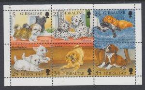 Gibraltar 702 Dogs Souvenir Sheet MNH VF